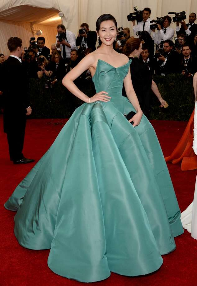 Best:  Model Liu Wen is stunning in this structured Zac Posen gown. The sea foam green is particularly lovely. Photo: Dimitrios Kambouris, Getty Images