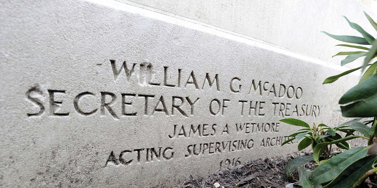 The 1916 cornerstone bearing the names of William G. McAdoo, secretary of the treasury, and James Wetmore, acting supervising architect, at the building that was the former home of the Greenwich Avenue post office and will now be the site for the Restoration Hardware store, Greenwich, Conn., Tuesday, May 6, 2014.