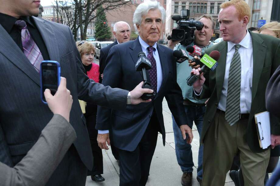 Former New York State Senate leader Joe Bruno makes his way back into the Federal Courthouse following a break for lunch on Tuesday, May 6, 2014, in Albany, N.Y.   (Paul Buckowski / Times Union) Photo: Paul Buckowski / 00026791A