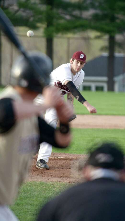 Bethel's Daniel Simonelli, #23, pitches to Barlow's JM D'Augelli, #20, in the first inning of the SWC boys high school baseball game between, Joel Barlow of Redding and Bethel High School, in Bethel, Conn, on Monday night, May 5, 2014. Photo: H John Voorhees III / The News-Times Freelance