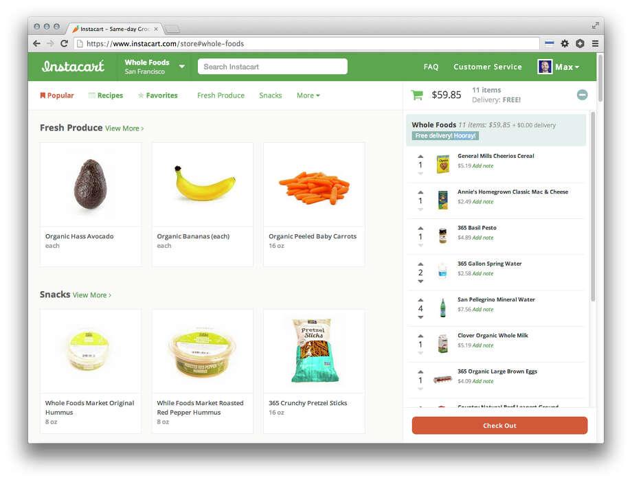 Screenshot of the Instacart website. Photo: Instacart