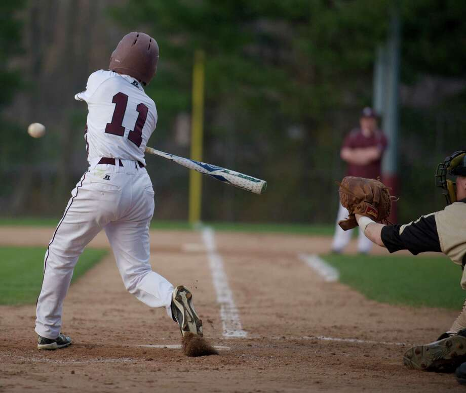 SWC boys high school baseball game between Joel Barlow, of Redding, and Bethel High School, in Bethel, Conn, on Monday night, May 5, 2014. Photo: H John Voorhees III / The News-Times Freelance