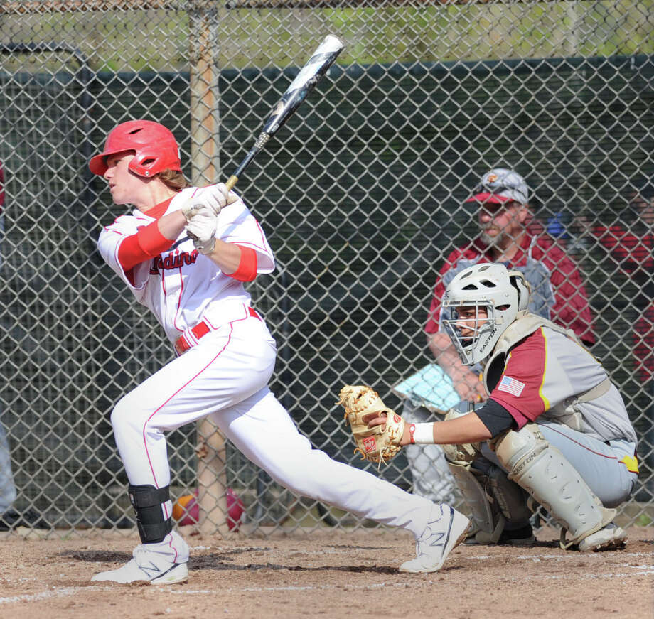 Kyle Dunster of Greenwich hits during the high school baseball game between Greenwich High School and St. Joseph High School at Greenwich, Friday, May 2, 2014. Greenwich won 5-4 on a game winning double by Dunster in the bottom of the 7th inning. Photo: Bob Luckey / Greenwich Time