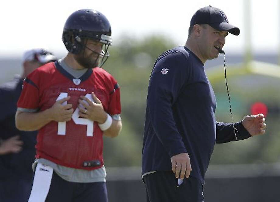 Ryan Fitzpatrick and Bill O'Brien at minicamp. Photo: James Nielsen, Houston Chronicle