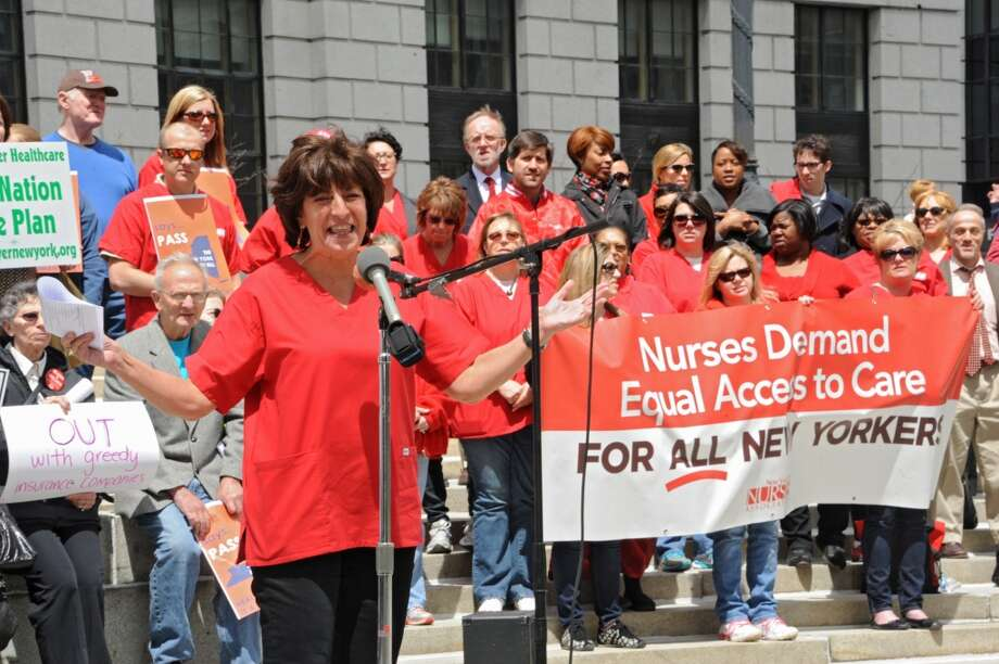 Judy Sheridan-Gonzalez, RN, President, New York State Nurses Association, speaks during a rally in support of the New York Health bill, which creates a universal, single-payer health insurance program outside the Capitol on Tuesday May 6, 2014 in Albany, N.Y.  (Lori Van Buren / Times Union) Photo: Lori Van Buren, Albany Times Union