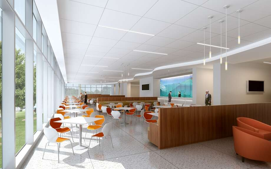 A dining area at the new FMC Technologies campus. Photo: Gensler