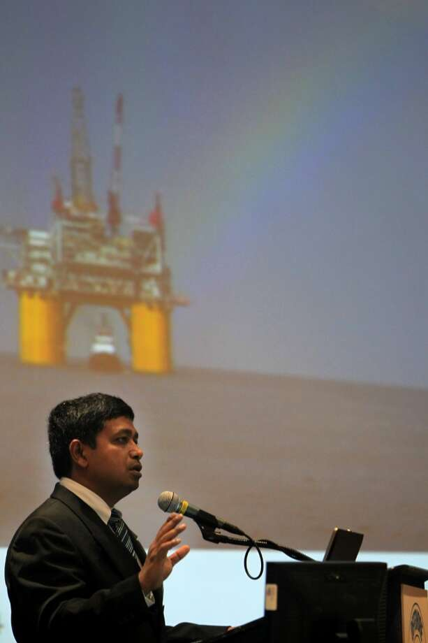 Rajiv Kamal delivers remarks in the Mars B Development: Driving Toward Top-Quartile Delivery through Intergration panel during the Offshore Technology Conference at NRG Park on May 5, 2014, in Houston, Tx. ( Mayra Beltran / Houston Chronicle )