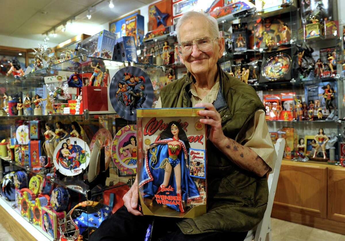 Pete Marston, 84, has created a museum in his home with his extensive collection of Wonder Woman items. His father William Moulton Marston, created Wonder Woman, which was first published by DC Comics. Marston and his collection are photographed in his Bethel, Conn. home Friday, May 2, 2014.