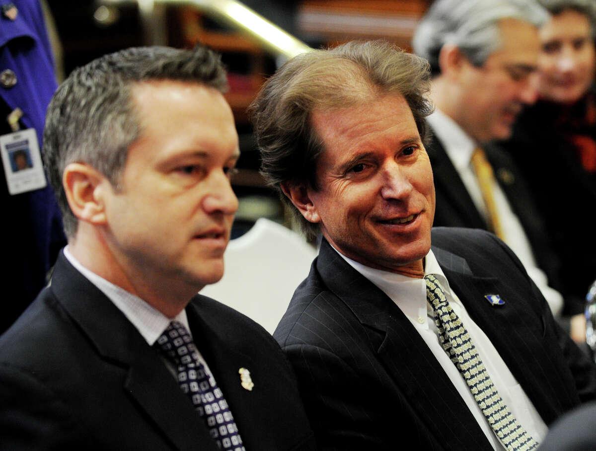 State Sen. L. Scott Frantz, R-36, right, attends Gov. Dannel P. Malloy's budget address at the Capitol in Hartford on Feb. 6.