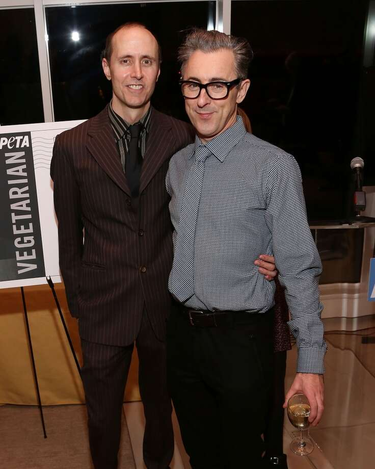 """Graphic artist Grant Shaffer (left) and husband Alan Cumming (currently starring on Broadway in """"Cabaret"""") were first married (in a civil partnership) in England on Janurary 7, 2007 and then married in New York City on January 7, 2012. The pair are a well known around their Manhattan neighborhood walking their dogs Honey and Leon. They are also well known as outspoken advocates of LGBT rights. Photo: Taylor Hill, FilmMagic"""