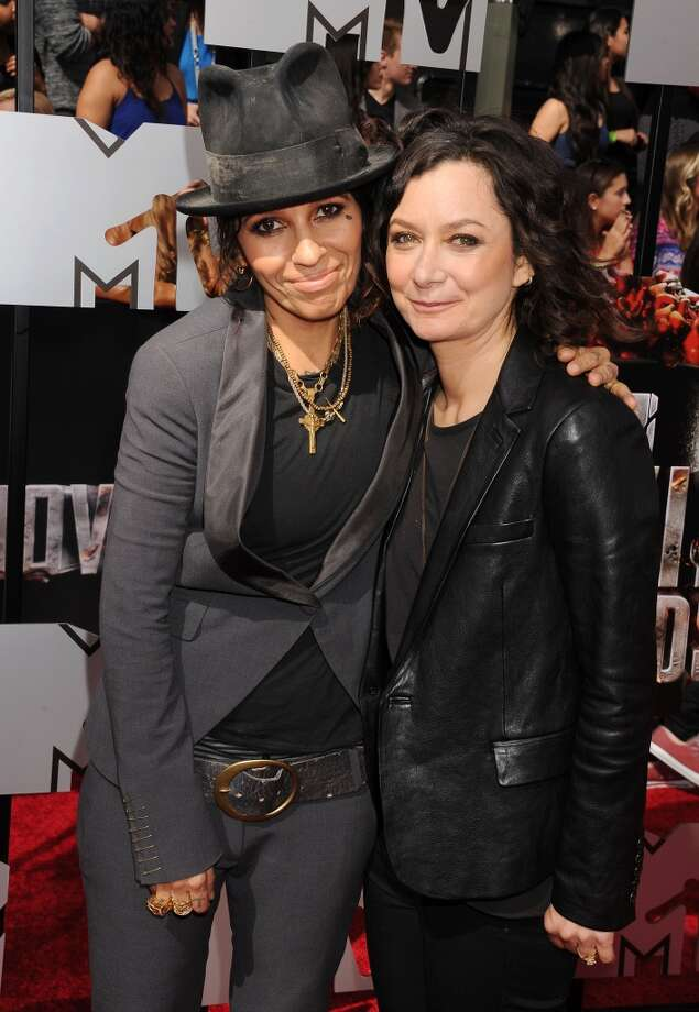 """The Talk"" host and actress Sara Gilbert (right) and musician Linda Perry (4 Non Blonds) were wed March 30, 2014. Gilbert has two children from her relationship with Allison Adler. Photo: Jeffrey Mayer, WireImage"