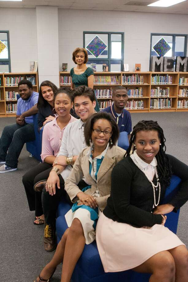 Westbury High School's top performing students, shown with Associate Principal Tiffany Guillory, back, include: Miracle Gardner, front, Princess Jefferson, Romesh Alexander Jaya, Whitney Sylmon, Justin Lane, Roland Davila and Jalen Norris. Photo: R. Clayton McKee, Freelance / © R. Clayton McKee