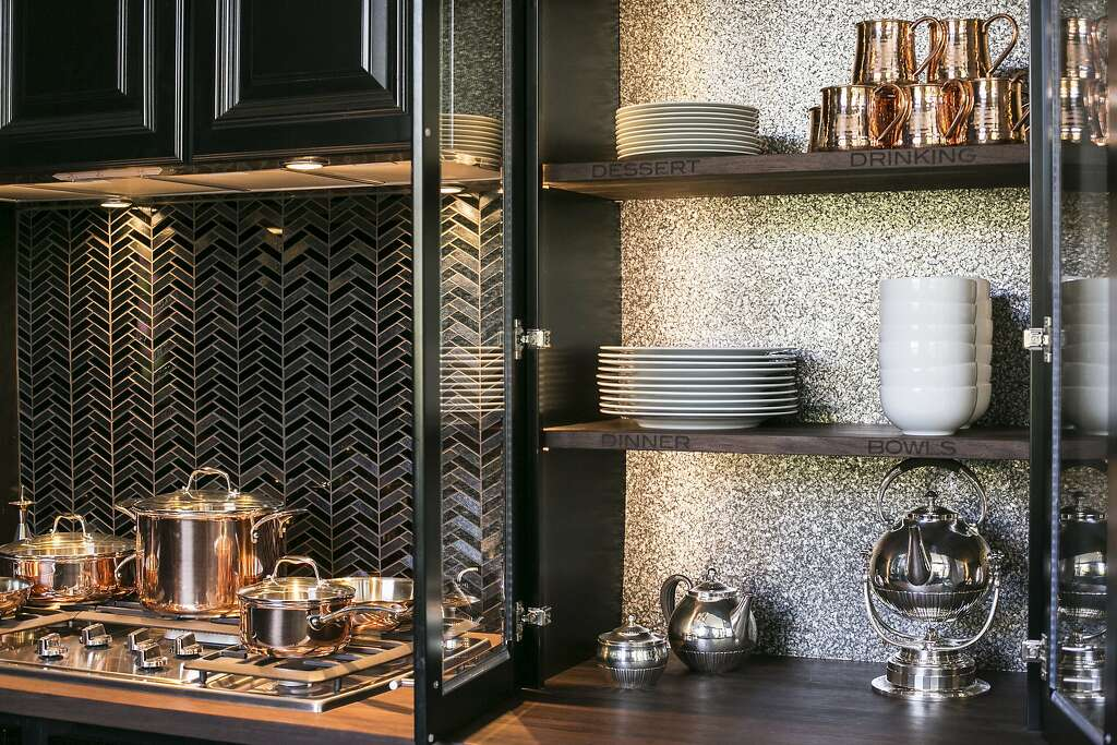 Designer Steven Miller Chose Ann Sacks Black And Silver Glass Tiles In A Herringbone Motif For House Beautiful S Kitchen Of The Year
