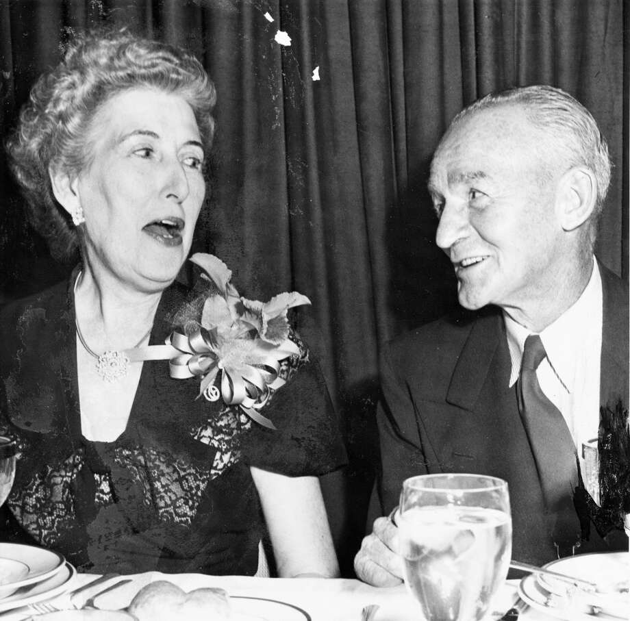 Houston Press columnist Ralph A. (Andy) Anderson and wife. June 24, 1949.  For much of the first half of the 20th century, Anderson covered Houston sports for the Post and Press. During that time he helped establish sandlot baseball for youths.  But during World War II, Anderson played a large role in the war bond effort. After the war ended, Anderson turned his attention to handicapped veterans. He developed equipment that allowed them to continue outdoor activities and sponsored outdoor trips for vets as well. Photo: Houston Chronicle