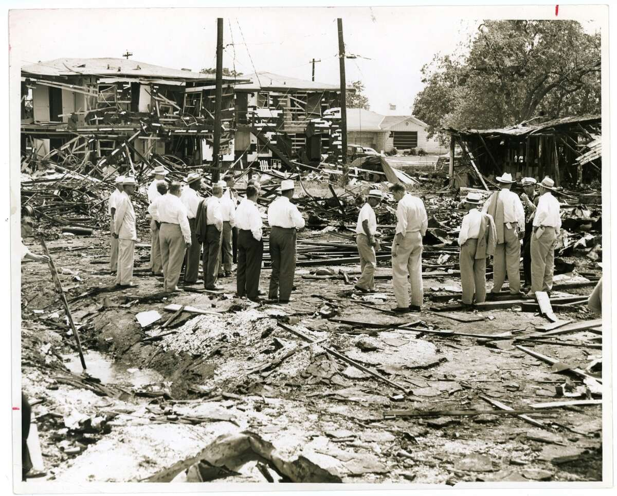 June 5, 1953: Damage from the Alco Fireworks and Specialty explosion. In a warehouse off Rosine, between West Dallas and West Clay, sparks ignited a fireworks display under assembly, setting off 45,000 pounds of explosives. The ensuing explosion and fire killed four people, including two children and their mother. Another mother was killed in the blast as well.