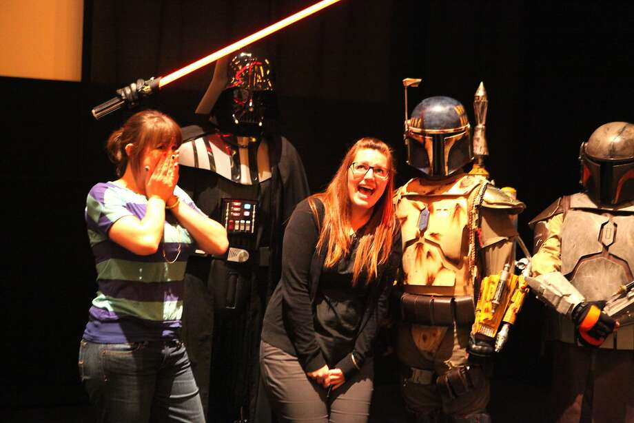 "Lauren Clapperton (left) joins friend Victoria Black and costumed members of the 501st Legion at the ""Goldbergs"" screening. Photo: Deborah Svoboda, The Chronicle"