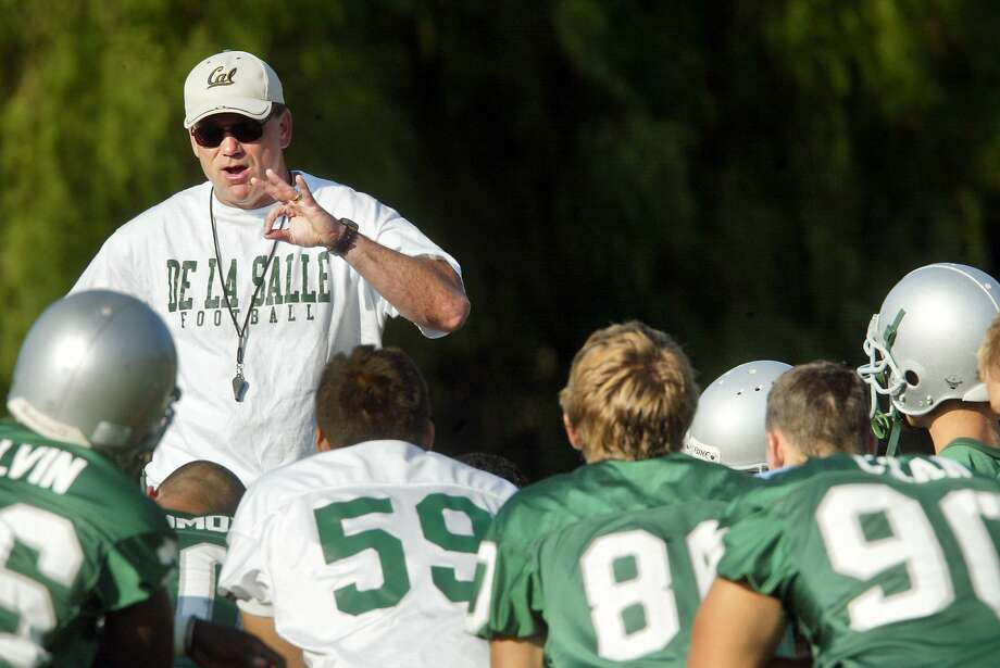 De La Salle's Bob Ladouceur stressed academics after a 2002 practice. Photo: Mike Kepka, SFC