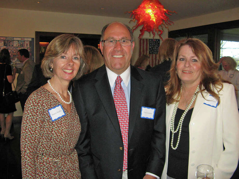 Visiting Nurse & Hospice of Fairfield County raised more than $53,000 at its Seaside Soiree fundraiser on April 27. Above, Agency President and CEO Sharon Bradley with event sponsors and New Canaan residents Tom and Judy Cicalese. Photo: Contributed Photo, Contributed / New Canaan News Contributed