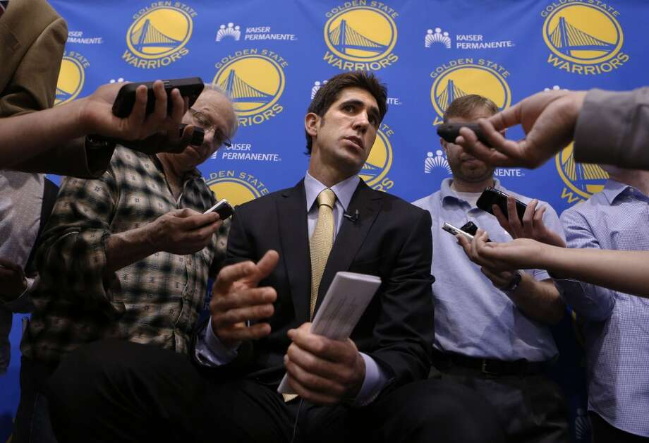 General Manger Bob Myers, makes comments to the news media, on the Golden State Warriors' decision to fire head coach Mark Jackson, during a press conference at the Warriors' training facility in Oakland, Calif. on Tuesday May 6, 2015. Photo: The Chronicle
