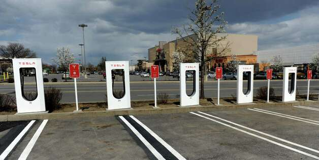 Tesla electric car power centers on Tuesday, May 6, 2014, at Colonie Center in Colonie, N.Y. (Cindy Schultz / Times Union) Photo: Cindy Schultz