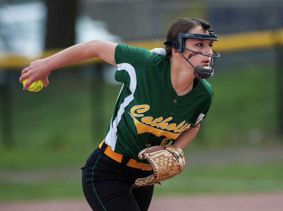 Trinity Catholic high school against Stamford high school during a softball game played at Stamford high school, Stamford, CT on Tuesday, May, 6th, 2014. Photo: Mark Conrad / Connecticut Post Freelance