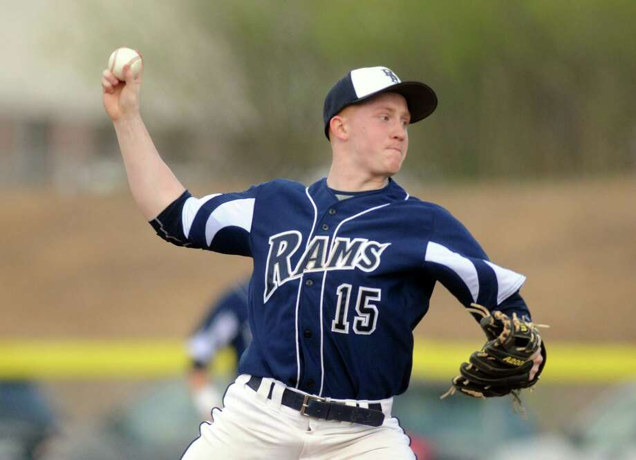 Rensselaer's Steven Harwood pitches during their boy's high school baseball game against Loudonville Christian on Tuesday May 6, 2014 in Rensselaer, N.Y. (Michael P. Farrell/Times Union) Photo: Michael P. Farrell / 00026775A
