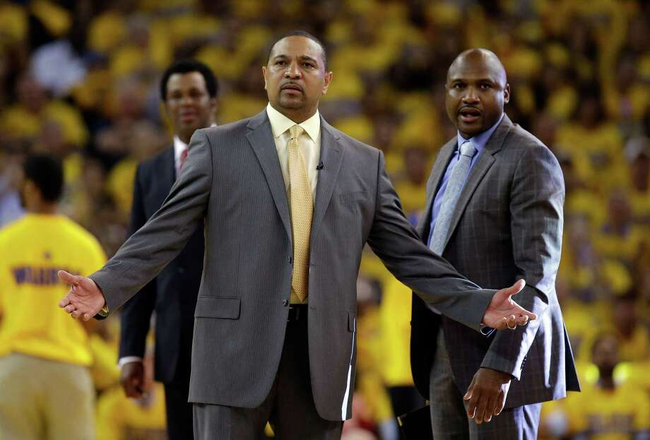 OAKLAND, CA - MAY 01:  Head coach Mark Jackson of the Golden State Warriors questions a call during their game against the Los Angeles Clippers in Game Six of the Western Conference Quarterfinals during the 2014 NBA Playoffs at ORACLE Arena on May 1, 2014 in Oakland, California. NOTE TO USER: User expressly acknowledges and agrees that, by downloading and or using this photograph, User is consenting to the terms and conditions of the Getty Images License Agreement.  (Photo by Ezra Shaw/Getty Images) Photo: Ezra Shaw, Staff / 2014 Getty Images