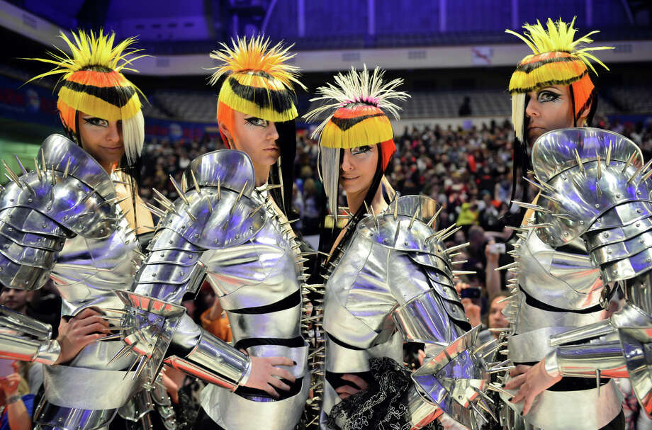 """Models walk around the catwalk after the contest """"Full Fashion Look"""" during the OMC Hairworld World Cup on May 4, 2014 in Frankfurt am Main, Germany. Photo: Thomas Lohnes, Getty Images / 2014 Getty Images"""