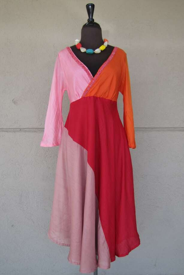 Silk Chan Luu dress, $34, Act II Consignment. Multicolor necklace set, $18, Act II Plus Photo: Cat5