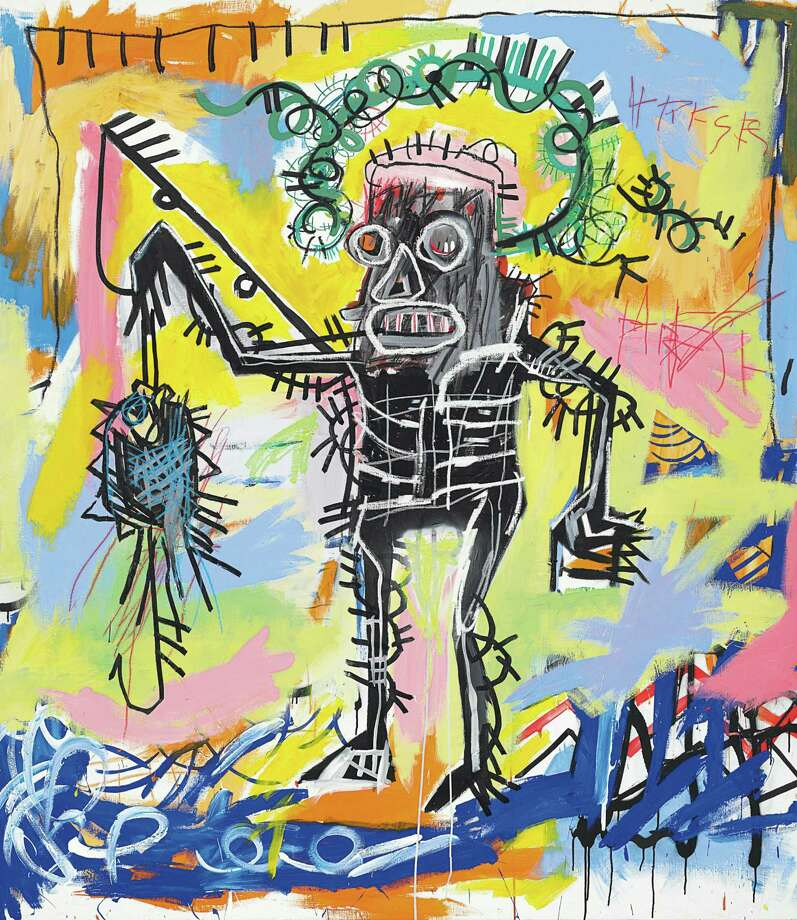 """This undated photo provided by Christie's shows Jean-Michel Basquiat's """"Untitled 1981"""". Christie's auction house says the colorful acrylic and oilstick canvas could set a new record for the graffiti artist when it's offered in the fall. The current record is $20.1 million.  """"Untitled 1981"""" is an important early work by the artist, who died at age 27. It goes on sale Nov. 14. (AP Photo/Christie's) Photo: HOEP / Christie's"""