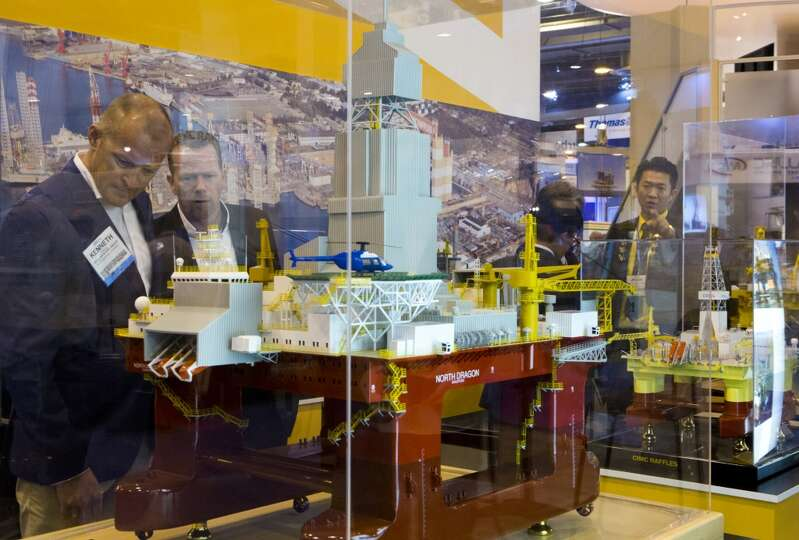 CIMC Raffles GM4D Semi-Submersible drilling rig model at the 2014 Offshore Technology Conference, Tu