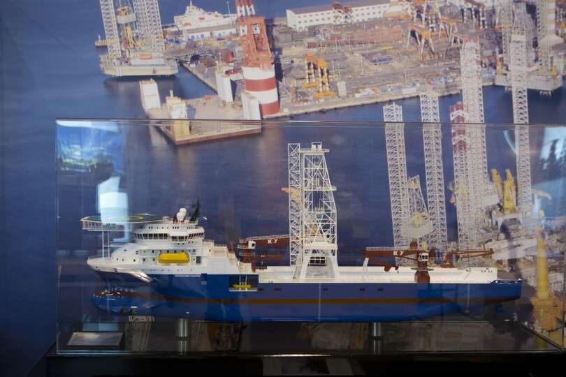 CIMC Raffles MT 6028 Ship-Shaped Drilling Unit model at the 2014 Offshore Technology Conference, Tue