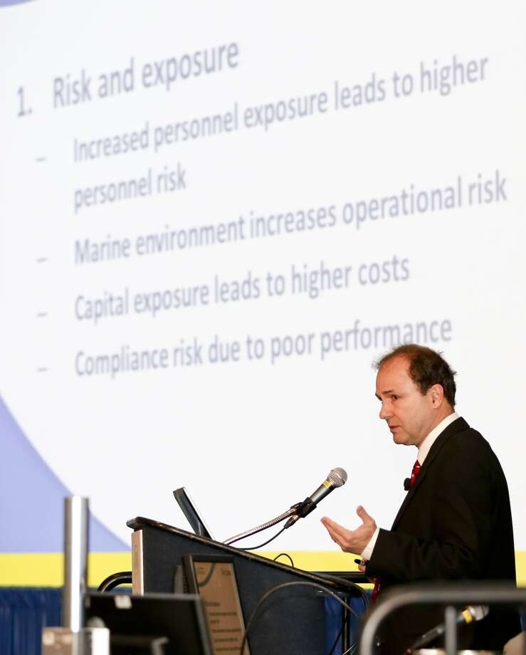 John Khachaturian talks about Offshore Decommissioning and Abandonment on day three of OTC on May 7, 2014 in the NRG Center in Houston, TX. (Photo: Thomas B. Shea/For the Chronicle) Photo: Thomas B. Shea, For The Chronicle