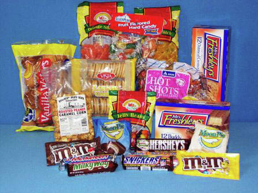 Candy bars and M&M's - 80 cents, fruit snacks - $1.78, pastries - 85 cents, jawbreakers - 80 cents