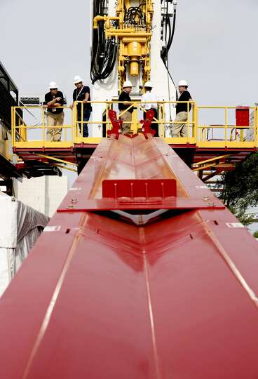 The Schram T-250 Xdi;, a hydraulic drilling rig , that can lift 125 tons, can be seen on day three o