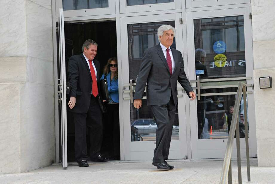 Former state Senate Majority Leader Joseph Bruno leaves the James T. Foley U.S. Courthouse during a lunch break from the resumption of his corruption trial with son Kenneth Bruno, left,  on Wednesday, May 7, 2014 in Albany, N.Y.  (Lori Van Buren / Times Union) Photo: Lori Van Buren / 00026783A