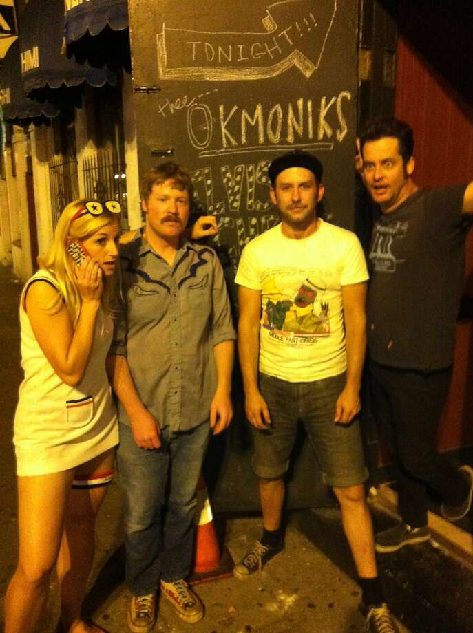 The Okmoniks are Helene Grotans (left), Sammy Claiborn, Justin Champlin and Jason Testasecca. Photo: Trevor Straub