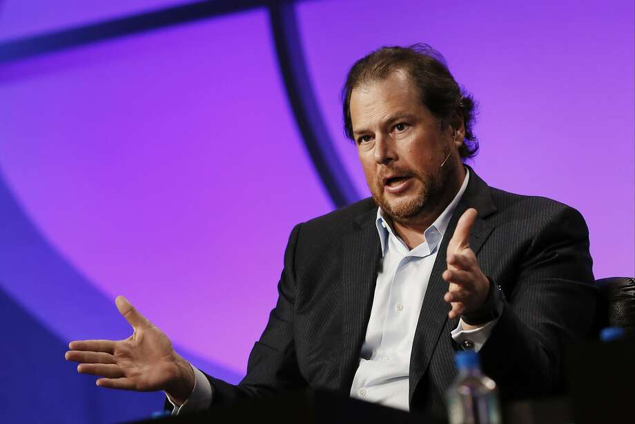 Marc Benioff, chairman and chief executive officer of Salesforce.com Inc., speaks at the annual Milken Institute Global Conference in Beverly Hills, California, U.S., on Tuesday, April 29, 2014. The conference brings together hundreds of chief executive officers, senior government officials and leading figures in the global capital markets for discussions on social, political and economic challenges. Photographer: Patrick T. Fallon/Bloomberg *** Local Caption *** Marc Benioff Photo: Patrick T. Fallon, Bloomberg