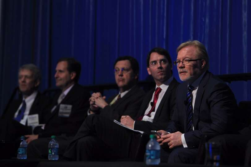 Panelist wait to deliver remarks in the Funding New E&P Technologies panel during the 2014 Offshore