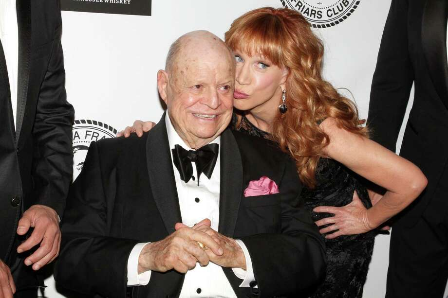 Comedians Don Rickles and Kathy Griffin pose for photos at the Friars Club Roast of Rickles at the Waldorf Astoria on Monday, June 24, 2013 in New York. (Photo by Greg Allen/Invision/AP) Photo: Greg Allen / Invision