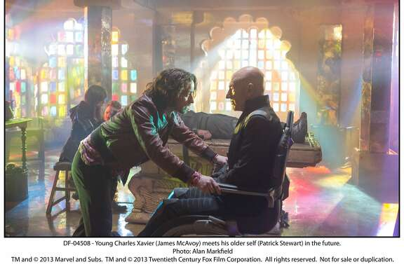 "Younger Charles Xavier (James McAvoy) is not singing a Neil Young song to older Charles Xavier (Patrick Stewart); he's looking for ways to avert World War III in ""X-Men: Days of Future Past."" Movie opens May 23. Photo by Alan Markfield.  DF-04508 - Young Charles Xavier (James McAvoy) meets his older self (Patrick Stewart) in the future."