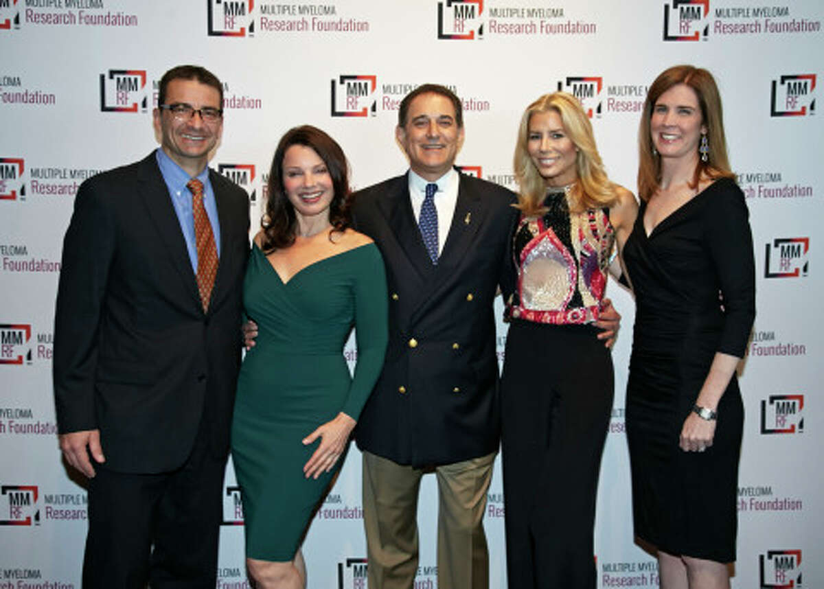 Walter Capone of the MMRF, actor Fran Drescher, Michael Reinert of the MMRF board of directors, Aviva Drescher and Anne Quinn Young of the MMRF celebrating at the 2014 MMRF Laugh for Life: New York.