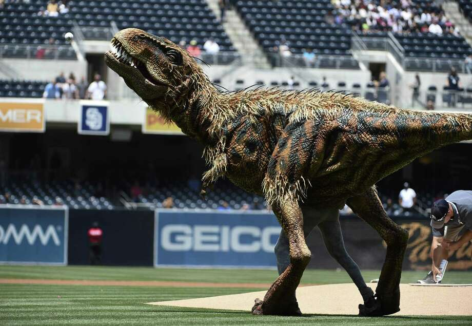 "SAN DIEGO, CA - MAY 7:  A costumed dinosaur, Baby T, from ""Walking with Dinosaurs"" throws out the first pitch before a baseball game between the Kansas City Royals and the San Diego Padres at Petco Park May 7, 2014 in San Diego, California. Photo: Denis Poroy, Getty Images / 2014 Getty Images"