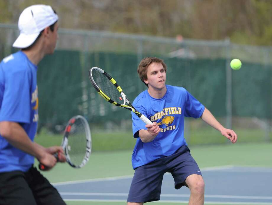 Brookfield doubles partners Tyler Goldstein, left, and Stephen Vulland play in their doubles match at the high school boys tennis match between Brookfield and New Fairfield at Brookfield High School in Brookfield, Conn. Wednesday, May 7, 2014. Photo: Tyler Sizemore / The News-Times