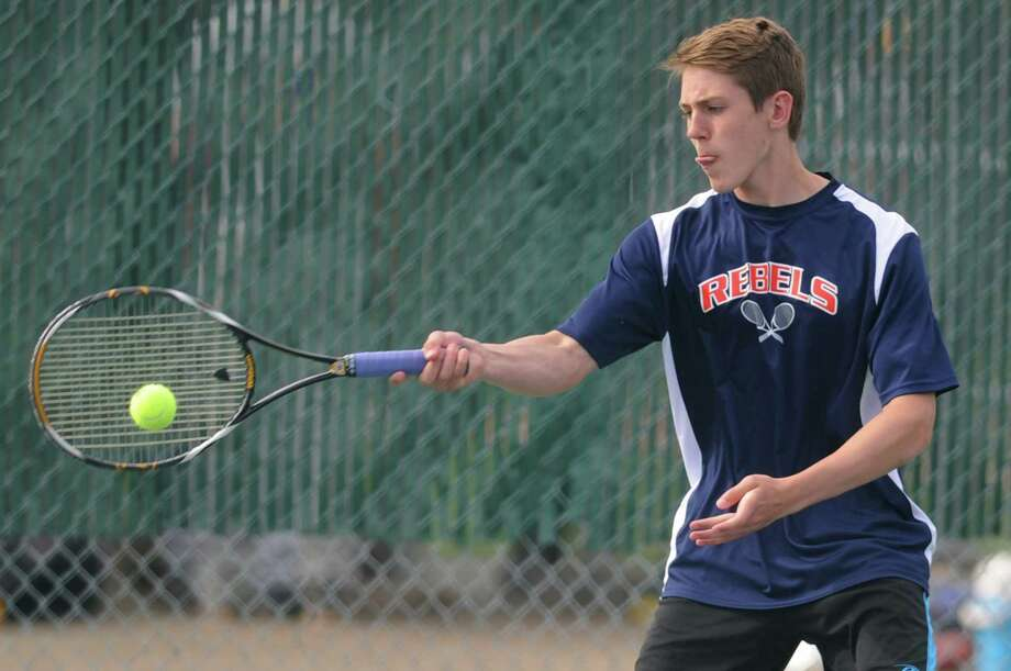 Photos from the high school boys tennis match between Brookfield and New Fairfield at Brookfield High School in Brookfield, Conn. Wednesday, May 7, 2014. Photo: Tyler Sizemore / The News-Times