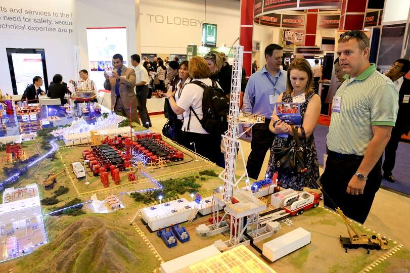 Sinopec Oilfield Services Corporation has a very large oil field and oil industry model on display o