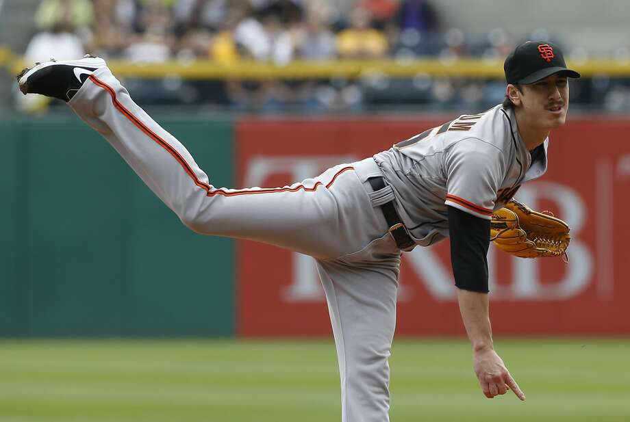 San Francisco Giants starting pitcher Tim Lincecum (55) throws against the Pittsburgh Pirates in the first inning of the baseball game on Wednesday, May 7, 2014, in Pittsburgh.  (AP Photo/Keith Srakocic) Photo: Keith Srakocic, Associated Press