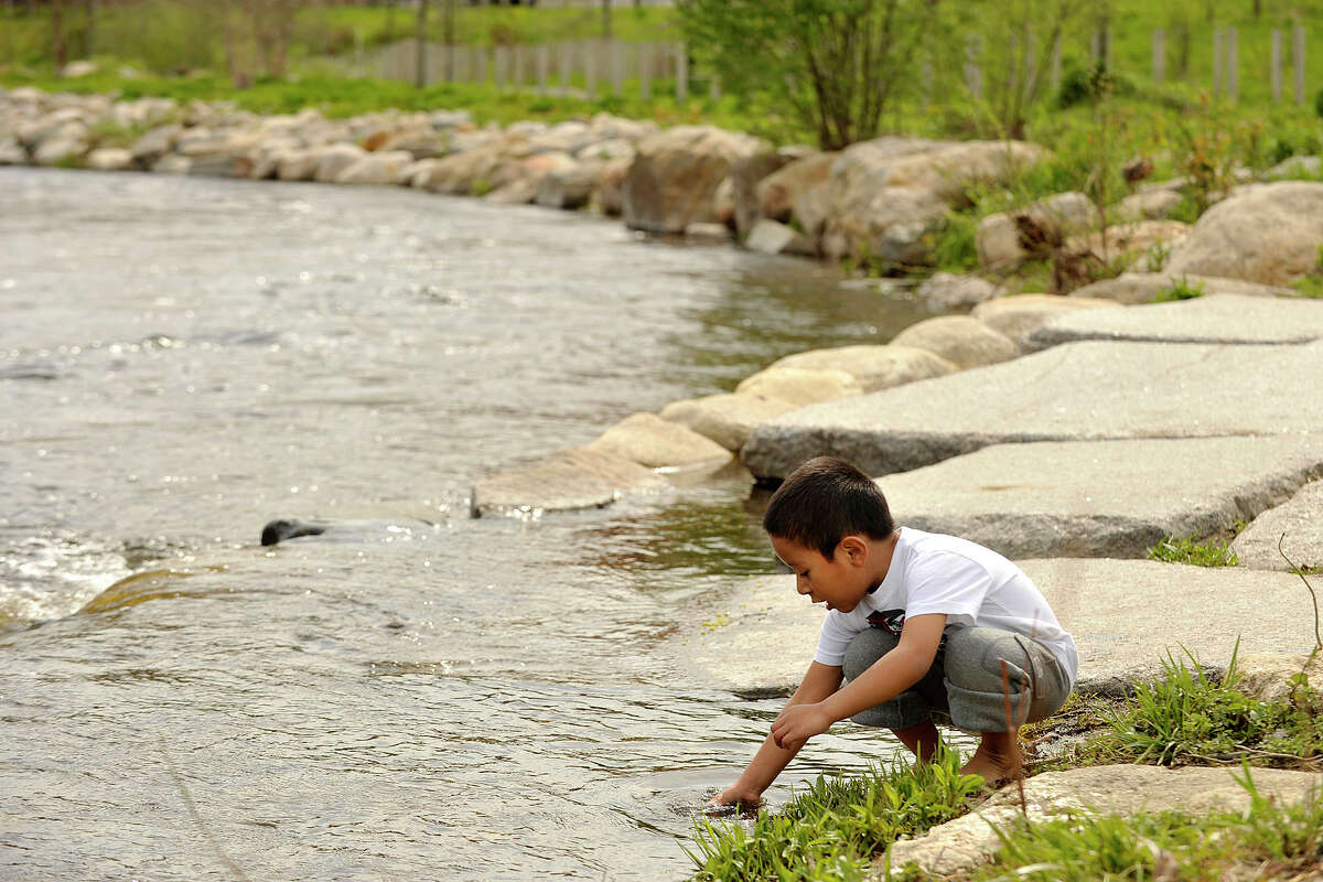 Gabriel Villeda plays in the Rippowam River in Mill River Park in Stamford, Conn., on Wednesday, May 7, 2014. On Wednesday, temperatures reached into the low 70s. On Wednesday, temperatures reached into the low 70s, though the water was much colder.
