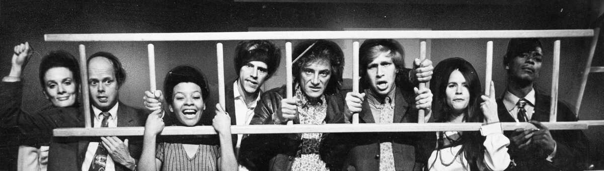 San Francisco's famed improvised satirical revue, The Committee, in its seventh year at 622 Broadway. Pictured above from left to right are: Julie Payne, Dan Barrows, Kertia Thomas, Joe Vandenberg, Ed Greenberg, Ruth Silveira, Everett Cornell.