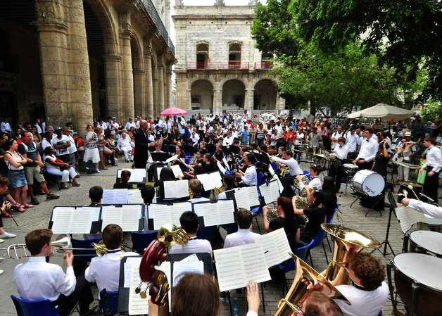 The Greenwich High School wind ensemble performs at the Plaza de Armas in Cuba during a week long trip in April 2014. Photo: Picasa, Contributed Photo / Greenwich Time Contributed